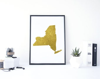 New York State Map Etsy - New york us map