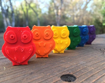 Owl Crayons // Owl Birthday Party // Forest Friends // Party Favor Bags // Owl Party //Crayon Goodie Bag // Animal Crayons