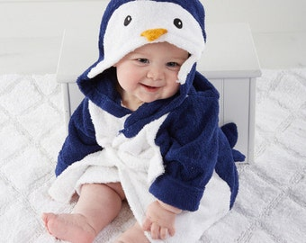 Baby's Penguin Hooded  Robe, Baby Clothing, Spa Robe, Personalized Gift