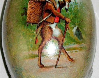 "Vintage Paper Mache Easter Egg 7""x5"" GENTLEMAN WALKER Handmade in Germany Mint Condition/Factory Sealed!"