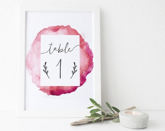 instant download watercolor table numbers // pink watercolor // hand lettering // printable digital files // wedding table numbers 1-20