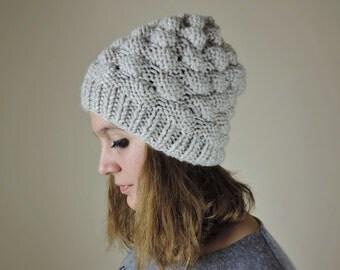Chunky Pom Pom Hat, Bubble Hat, Hand Knit Hat, Beige Winter Beanie, Bubble Beanie