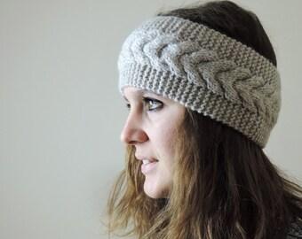 Beige Knit Headband, Cable Knit Headband, Ear Warmer, Winter Hairband, Beige Knitted Headband, Chunky Headband