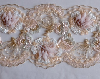 Hand embroidered trim with tulle appliqué flowers