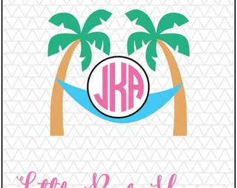 Palm Tree SVG, Palm Tree Monogram, Beach Monogram SVG, DXF, Digital Cut File, Instant Download