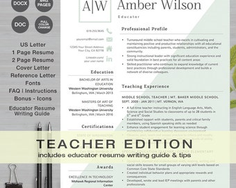 teacher resume template ms word and apple pages 1 2 page resume cover - Apple Pages Resume Templates