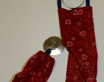 Hearts On Red Background Stethoscope Cover/Scope Coat