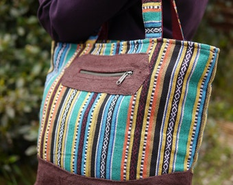 Turquoise Cotton and Chocolate Hemp Large Shoulder Bag Eco Friendly Vegan Handbag Festival Fashion Ethical Multicoloured Natural Brown