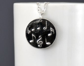Musical Notes Sheet Music Necklace Silver Necklace Pendant Necklace Sterling Silver Music Jewelry Silver Charm Pendant Bohemian Jewelry