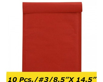 10 #3 8.5x14.5 Red Kraft Bubble Mailers Padded Envelopes 8,5 x 14,5, 250mm x 350mm / G/17