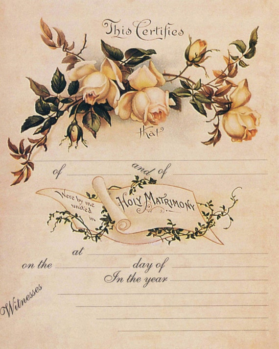 Items Similar To Vintage Marriage Certificate Printed On