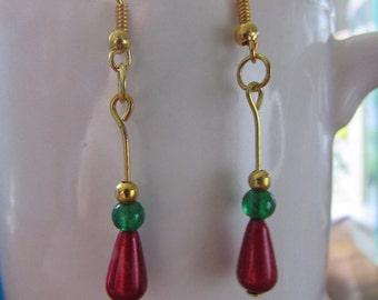 SALE - Christmas earrings , Gold plated earrings , Beaded earrings , Dangle earrings , Drop earrings , Hooked earrings , Xmas earrings