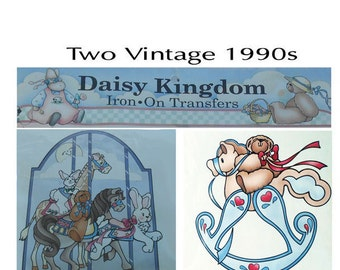 2 Nursery Transfers, Vintage Daisy Kingdom, 2 Iron On Transfers, 1990s Nineties, Nursery Decor,Carousel Animals, Rocking Bear, 6450, 6401