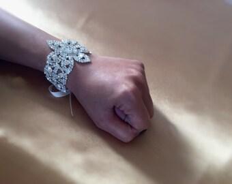 Rhinestone Bridal Bracelet, Bridal Jewelry, Bridesmaid Bracelet, Bridal Beaded Crystal Cuff, Wedding Bracelet, Bridal Accessories