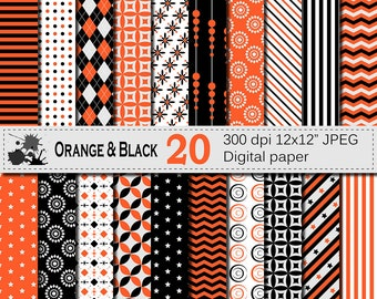 Orange and Black Digital Paper Set, Geometric Digital Printable Scrapbook Papers, Stripe Chevron Argyle Papers, Digital Download