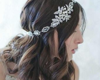 Bridal Head Band, Wedding headband, Rhinestone and Pearl headband, Bridal Headband, Bridal Hair Accessory, Wedding hair Accessory