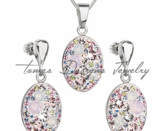 Silver Swarovski Earrings and Necklace Set - Vintage - Rhodium-Plated Silver and Swarovski Elements Crystals - Magic Rose - Light Pink