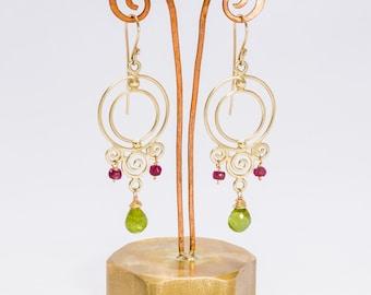 solid gold earrings,peridot chandelier gold earrings,gemstone gold earrings,peridot and ruby,chic chandelier earring,long gold earrings