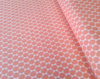 Organic Cotton Coral Pink Geometric, Peachy Salmon, Hexagon, Mosaic print, Stem Dot, cloud9, quilting cotton, by the yard