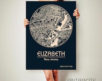 ELIZABETH New Jersey CANVAS Map Elizabeth New Jersey Poster City Map Elizabeth New Jersey Art Print Elizabeth New Jersey poster Elizabeth