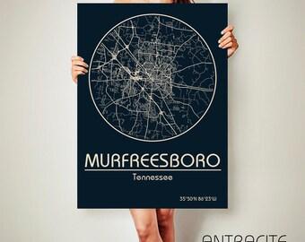 MURFREESBORO Tennessee CANVAS Map Murfreesboro Tennessee Poster City Map Murfreesboro Tennessee Art Print Murfreesboro Tennessee