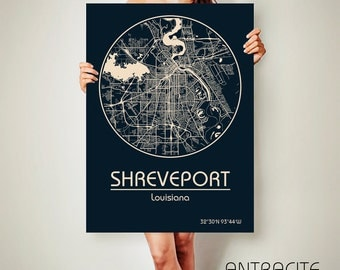 SHREVEPORT Louisiana CANVAS Map Shreveport Louisiana Poster City Map Shreveport Louisiana Art Print Shreveport Louisiana poster