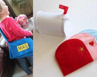 Mail Bag with Letters - Toddler Pretend Play - Montessori inspired - Felt Toys - Mailman Imagination Play - Toddler Gift