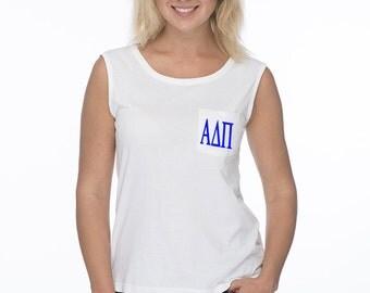 Alpha Delta Pi Tank Top, ADPi T- shirt JUNIOR CUT, ADPi Tank Top, ADPi Merchandise,  Alpha Delta Pi Sorority Apprel, ADPi Sleeveless Tee