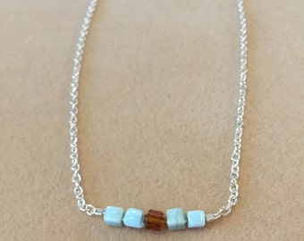 Dainty Necklace, Stone Bead Necklace, Sterling Silver Chain Necklace, Minimalistic Necklace, Blue Necklace
