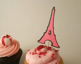 Paris party decorations, Paris cupcake topper, eiffel tower cupcake toppers, eiffel tower decorations, pink Paris party, pink cupcake topper