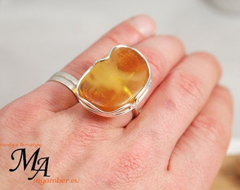 AMBER Ring Adjustable Silver 925 +Certificate *11687