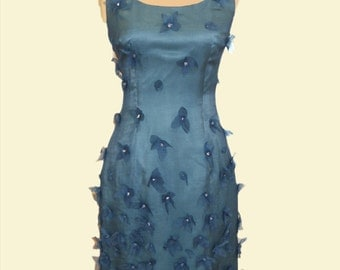 Flowers embroidered silk dress