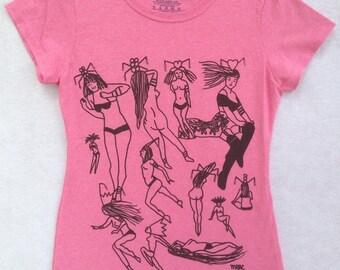 Pin Up Tee Shirt- Sexy Girl Tee Shirt- Burlesque Tee Shirt- Burlesque Gift- Pin Up Gift- Nudes Tee Shirt- Girls Tee Shirt- Size Small