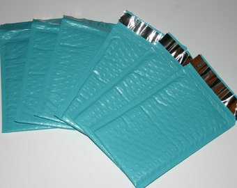 100  4x8 TEAL Bubble Mailers Size 000 Self Sealing Shipping Envelopes Spring Easter