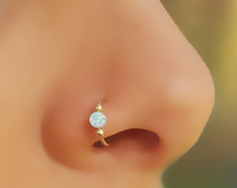 FAKE NOSE RING, Fake Nose Hoop, Opal Nose, Gold filled, Ring, Fake Piercing, Fake Ring Nose, White Opal