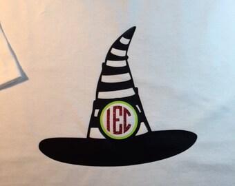 Halloween Witch's Hat with Monogram - Kid's Halloween Witch's Hat with monogram - Witch's Hat with monogram - Kid's Halloween Shirt