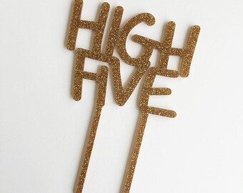 HIGH FIVE - sand acrylic caketopper