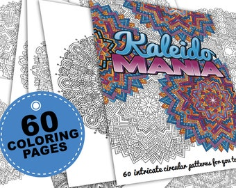 60 mandala coloring pages | Kaleidomania: Printable Adult Coloring Book | PDF E-Book - 60 intricate kaleidoscope coloring pages for adults