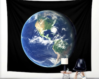 Planet Earth Wall Hanging Tapestry. Globe Wall Decor. World Tapestry. Wall Tapestry.