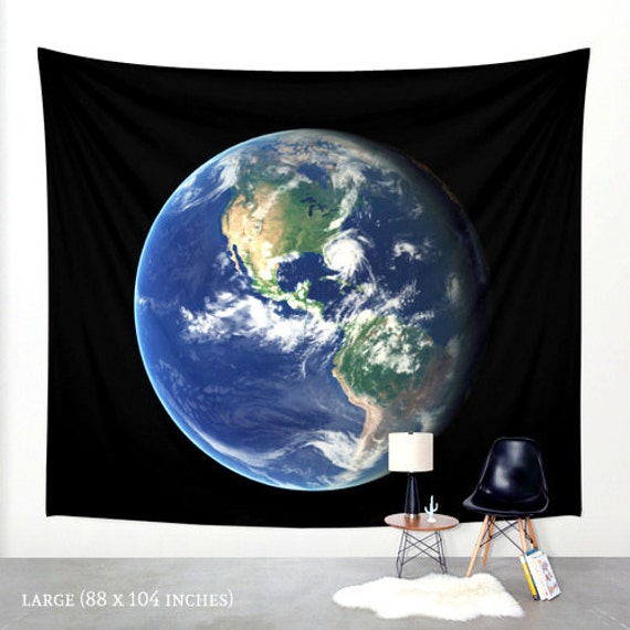 Planet earth wall hanging tapestry globe wall decor world - Hanging planets decorations ...