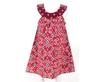 Batik Dress / Ikat Dress / Girls Dress / Baby Girl Dress / Summer Dress / Bali Dress / Red Dress / Beautiful Dress / Toddler Dress