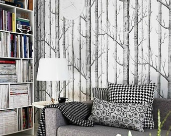 Black White Birch Tree Wallpaper