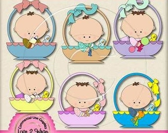 Baby Bassinett Exclusive Clipart (brown hair), Commercial & Personal Use