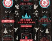 22 Christmas Labels, Christmas frames clipart, Holiday Labels, Merry Christmas Labels, Christmas clipart, retro frames,scrapbooking clipart