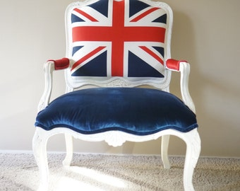 Upholstered Union Jack/British Vintage Armchair - SOLD