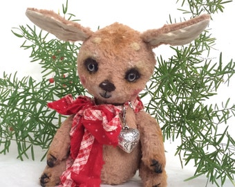 "Cute fawn ""Luka"",collectible handmade art toy, OOAK"