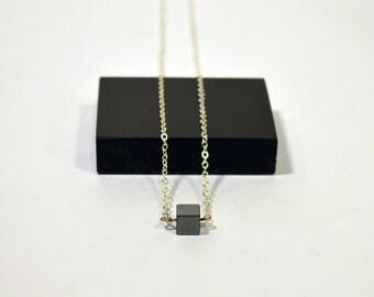Minimalist Black Hematite Cube Necklace