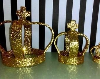 3 Glitter Crown Prop decor/ Crown lot
