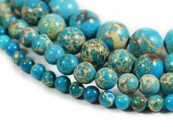 "Turquoise Sea Sediment Jasper Beads 4m 6mm 8mm 10mm 12mm Regalite Round  Imperial Impression Stone, 15.5"" Full Strand, Wholesale"