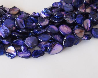 Strand Mother Of Pearl Nuggets Shell Beads Violet Purple 16 inch strand